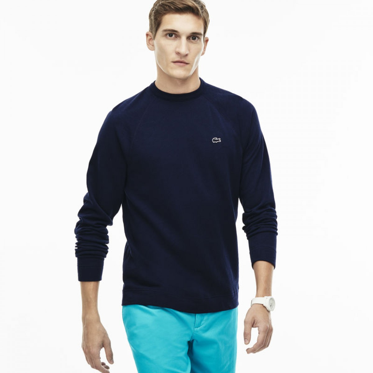 8daa4f7b6834 Lacoste Men s Crew Neck Navy Sweatshirt