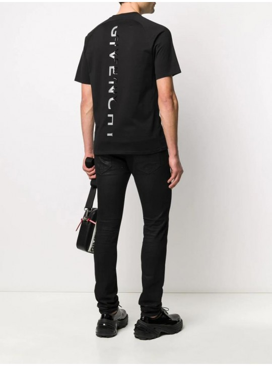 Givenchy Mens Split Slim Fit Printed T Shirt Black