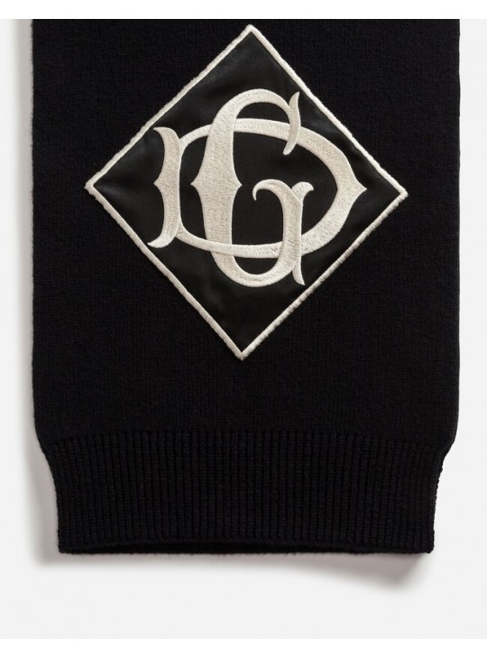 Dolce & Gabbana Wool Knit Scarf With Patch Embellishment