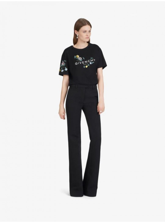 Givenchy Womens Floral Embroided T Shirt Black