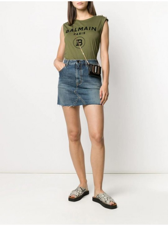 Balmain Womens Logo Sleeveless Top Green
