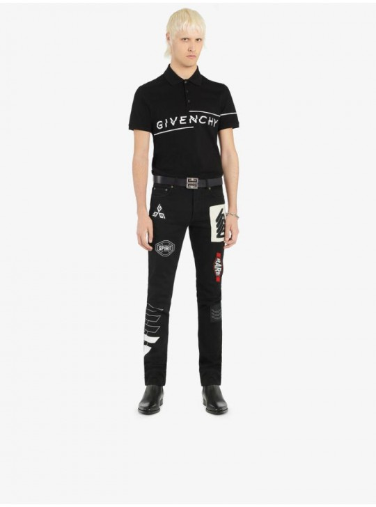 Givenchy Mens Black Asymmetrical Logo Polo