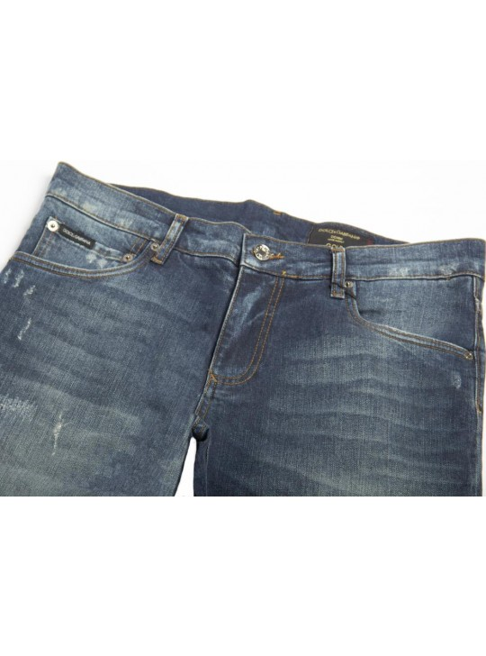 Dolce & Gabbana Mens Distressed Jeans Navy