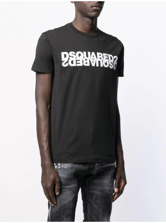 Dsquared2 Mens Contrasting Black Double Logo T Shirt