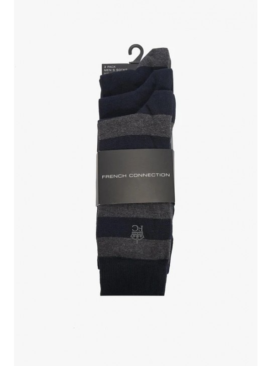 French Connection 3 Pack Socks Size 7-11 Marine/Charcoal