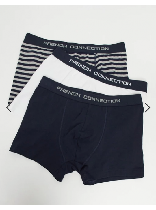 French Connection Organic Cotton 3 Pack Boxers White Navy Stripe