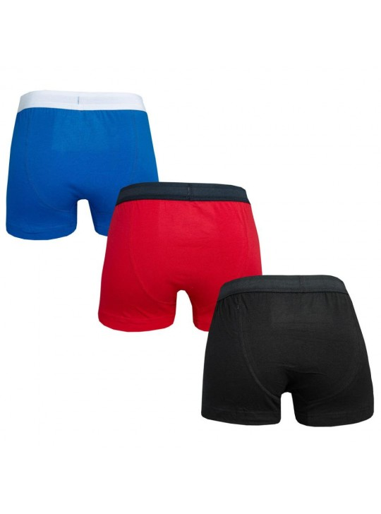 French Connection Men's Black Red Blue 3 Pack Boxers Underwear