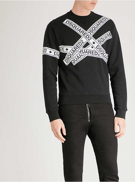 Dsquared2 mens logo tape print sweatshirt