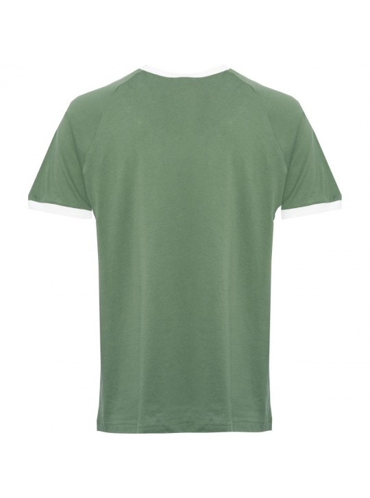Adidas Originals Men's Short Sleeve Green California 3-Stripe T-Shirt