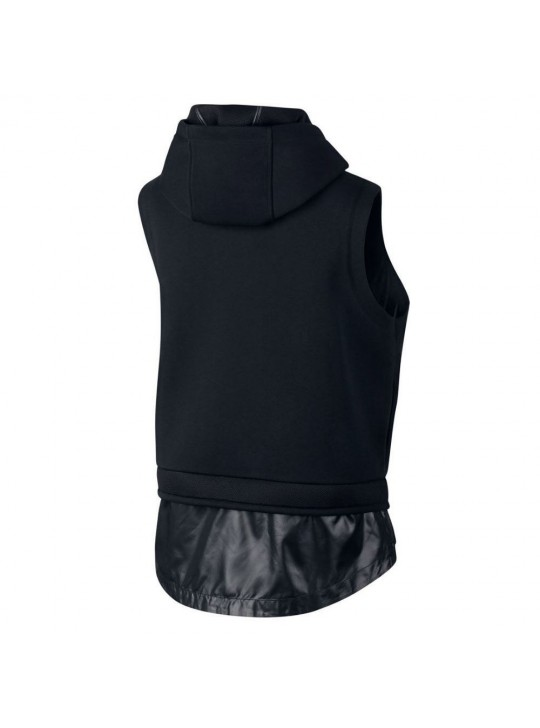 Nike Womens Black Mixed Material Vest Sweatshirt