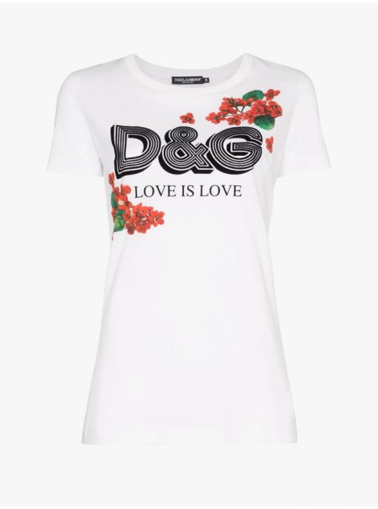 Dolce & Gabbana Womens Love is Love T Shirt White