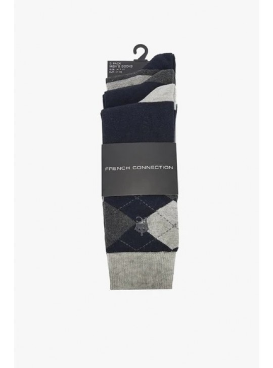 French Connection 3 Pack Argyle Socks Marine/Charcoal