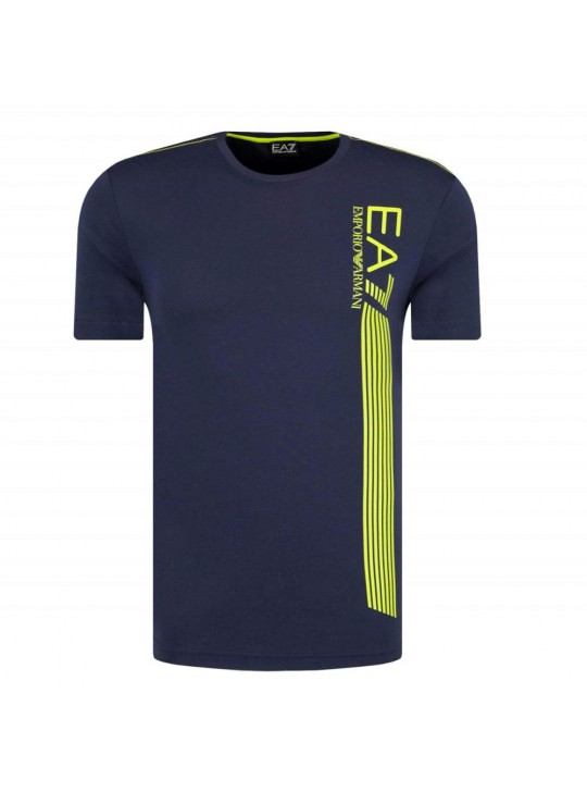 Armani Men's EA7 Lines Navy Short Sleeve T-Shirt