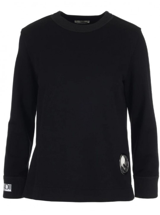 Fendi womens black cotton sweatshirt