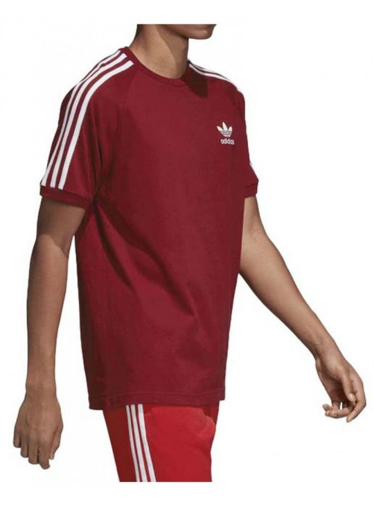 Adidas Originals Men's Short Sleeve Burgundy California 3-Stripe T-Shirt