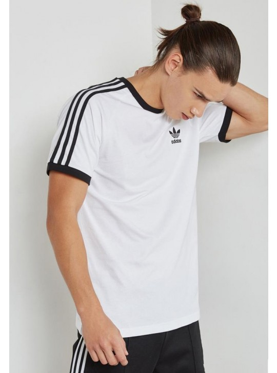 Adidas Originals Men's Short Sleeve White Essentials 3-Stripe T-Shirt