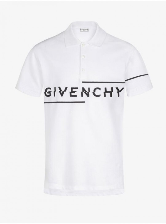 Givenchy Mens White Asymmetrical Logo Polo