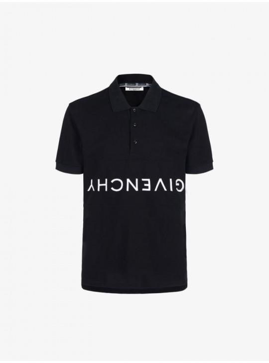 Givenchy mens logo-embroided piqué cotton polo shirt black