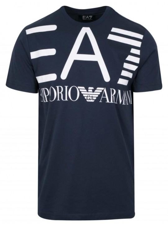 Armani Men's EA7 Printed Logo Navy Short Sleeve T-Shirt