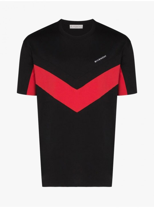Givenchy Mens Contrasted Red V Detail T Shirt Black