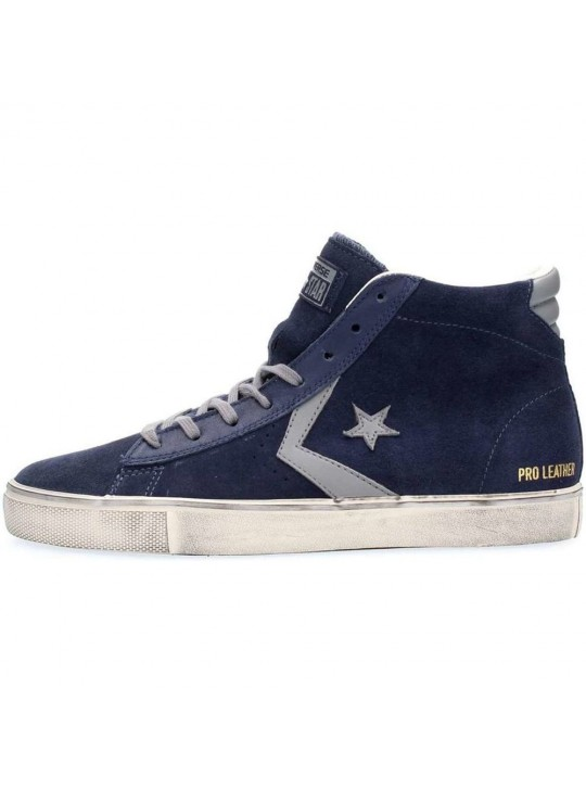 Converse Pro Leather Vulc Mid Suede Distressed Blue