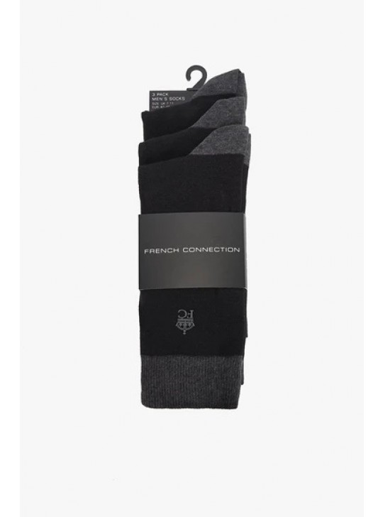 French Connection 3 Pack Heel Toe Sock Black/Charc Mel