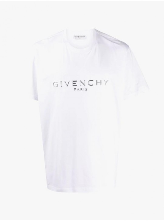 Givenchy Mens Paris Embossed T Shirt White