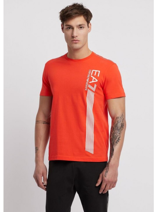 Armani Men's EA7 Lines Orange Short Sleeve T-Shirt